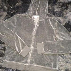 Victoria's Secret Sm Black Velour Full-Zip Jacket